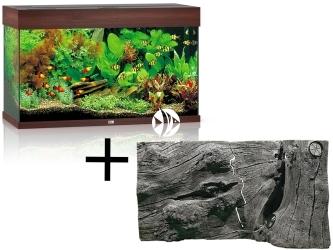 Rio 125 HeliaLux Spectrum Ciemne drewno + Tło Orinoco Juwel - Zawiera: akwarium z pełnym wyposażeniem, tło strukturalne