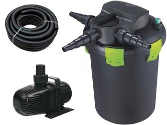 AQUA NOVA Zestaw do filtracji oczka z wodospadem 3000-9000l ECO - Zawiera: filtr ciśnieniowy, pompa, wąż spiralny