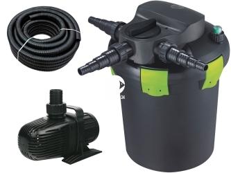 AQUA NOVA Zestaw do filtracji oczka z wodospadem 2000-6000l ECO - Zawiera: filtr ciśnieniowy, pompa, wąż spiralny