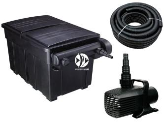 AQUA NOVA Zestaw do filtracji oczka 12000-25000l ECO BIO - Zawiera: filtr przelewowy, pompa, wąż spiralny