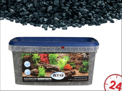 ATG AQUARIUM SUBSTRATE ANTRAZIT 2-4mm, 3L - Samoczyszczące podłoże do akwarium o własciwościach antyglonowych i absorbcyjnych.