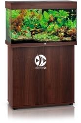 JUWEL Rio 125 HeliaLux Spectrum Ciemne drewno + Szafka - Zawiera: Wyposażone akwarium z oświetleniem HeliaLux Spectrum LED, szafka