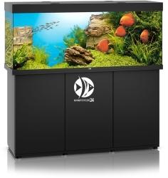 JUWEL Rio 450 HeliaLux Spectrum Czarny + Szafka - Zawiera: Wyposażone akwarium z oświetleniem HeliaLux Spectrum LED, szafka