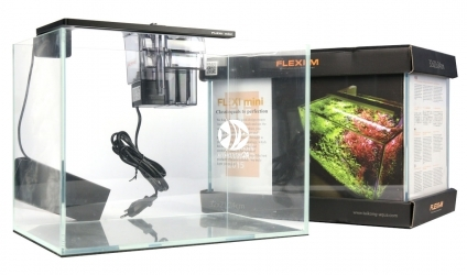 FLEXI mini Scape Set Czarna lampka (FM74006) - Zestaw akwariowy z oświetleniem (srebrna lampka), filtrem kaskadowym i podkładką.