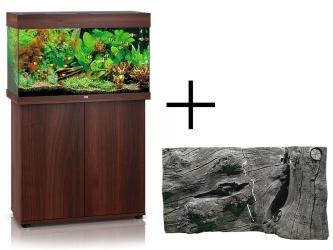 Rio 125 HeliaLux Spectrum Ciemne drewno + Szafka + Tło Orinoco Juwel - Zawiera: akwarium z pełnym wyposażeniem, szafka, tło strukturalne