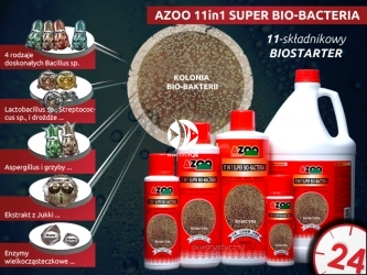 AZOO 11in1 SUPER BIO-BACTERIA 500ml - Wielozadaniowy preparat bakteryjny (biostarter), naturalnie rozkłada związki organiczne, amoniak(NH3), azotyny