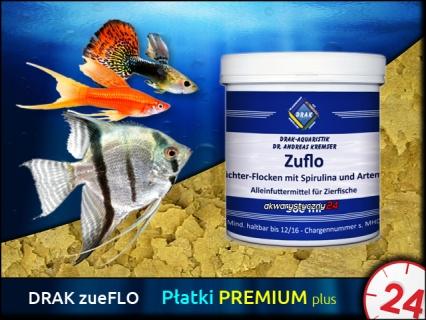 DRAK-aquaristik zueFLO, Puszka 150ml - Specjalny pokarm w formie płatków wzrostu ze spiruliną i artemią dla ryb tropikalnych