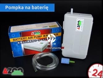 AZOO BATTERY AIR PUMP (AZ15001) - Pompka na baterię z wężykiem i kamieniem napowietrzającym w komplecie