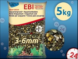 EBI Żwir ciemny 3-6mm 5kg [257-110744] | Naturalne podłoże do akwarium, nie zmienia parametrów wody.
