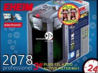 EHEIM PROFESSIONEL 3e 2078 (2078010) + 8L AZOO ACTIVE FILTER 4in1 | Elektroniczny filtr zewnętrzny do akwarium 300-700l