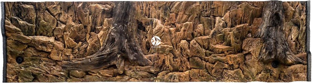 EKOL Tło Standard (STD50x30) - Tło uniwersalne do akwarium, zawiera motywy skał i korzeni