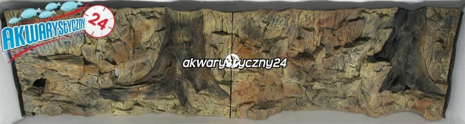 TŁO STRUKTURALNE 200x60 cm - Motyw mieszany, skała i korzeń.