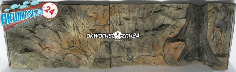 TŁO STRUKTURALNE 150x50 cm - Motyw mieszany, skała i korzeń.