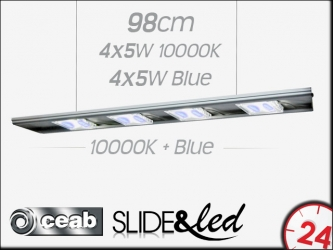 CEAB SLIDE&Led 10000K+Blue 4X5W+4X5W 98cm (SLMD100) - Energooszczędne, modułowe oświetlenie Led do akwarium morskiego i słodkowodnego.