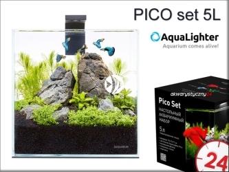 AQUALIGHTER PICO set 5L (7141) - Zestaw akwariowy ze szkła OPTI-WHITE z oświetleniem