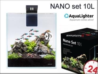 AQUALIGHTER NANO set 10L (7142) - Zestaw akwariowy ze szkła OPTI-WHITE z oświetleniem