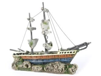 AQUA DELLA Boat with sails (234-416204) - Ręcznie malowany statek, łódź, żaglowiec do akwarium [wymiary - 38x12,5x31,5cm]