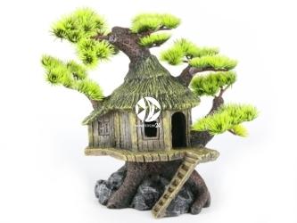 AQUA DELLA Bonsaihouse (234-184387) - Ręcznie malowany dom na drzewie bonsai, IGŁY do akwarium [wymiary - 20x15,5x20cm]
