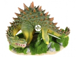 AQUA DELLA Dragon with moss XL - [234-431504] | Ręcznie malowany smok z bali stojący do akwarium [wymiary - 31,5x19x22,5cm]