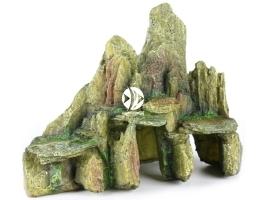 AQUA DELLA Stone with moss Green [234-104576] | Ręcznie malowana skała z grotą i mchem do akwarium [wymiary - 25,5x15,5x20cm]