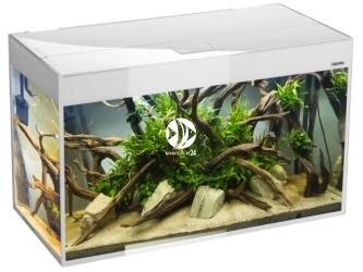 Aquael akwarium Glossy ST 100 biały (121500) | Zestaw akwariowy z oświetleniem LED, wzmocnione szkło SAFE TANK, 100x40x63cm