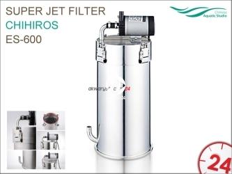 CHIHIROS Super Jet Filter ES-600 + metal jet pipe | Filtr kubełkowy ze stali nierdzewnej do akwarium 60-120cm długości ze stalowymi rurkami