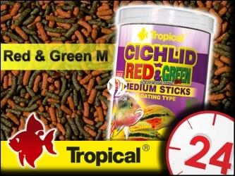 TROPICAL CICHLID RED & GREEN - Pałeczki ze spiruliną i astaksantyną dla średnich pielęgnic