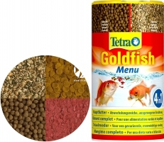 TETRA Goldfish Menu 250 ml (T183803) - Mieszanka 4 karm dla złotych rybek i innych rybek zimnolubnych.
