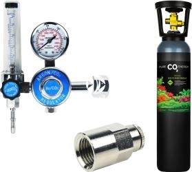 Zestaw - Butla CO2 8L z Reduktorem z Szybkozłączką na Wąż - Zawiera: butla CO2 8L, reduktor z rotametrem, złączka metalowa 1/4