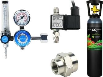 Zestaw - Butla CO2 8L z Reduktorem z Elektrozaworem - Zawiera: butla CO2 8L, reduktor z rotametrem, elektrozawór, złączka metalowa 14W18W, taśma teflonowa