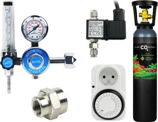Zestaw - Butla CO2 8L z Reduktorem z Elektrozaworem i Programatorem Mechanicznym - Zawiera: butla CO2 8L, reduktor z rotametrem, elektrozawór, programator mechaniczny, złączka metalowa 14W18W, taśma teflonowa