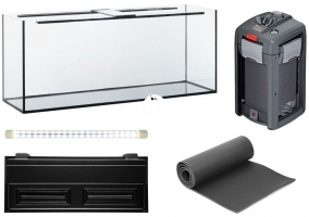 Zestaw Akwariowy 240l LED + Filtr - Zawiera: akwarium, pokrywa z oświetleniem LED, podkładka, filtr