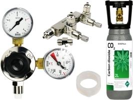 ROTALA Zestaw CO2 do akwarium nr. 28 - Zawiera: Butla 2L, reduktor z dwoma manometrami, zaworek precyzyjny dwu-wyjściowy, 2x uszczelka